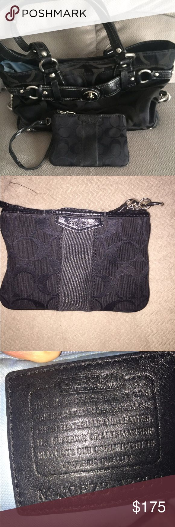 Matching coach clutch and change purse Matching coach clutch and change purse purse with normal wear use inside only Coach Bags Clutches & Wristlets