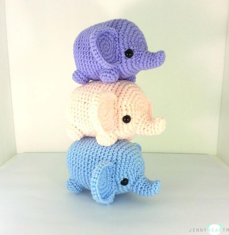 Midi Elephant Amigurumi Plush by jennybeartm - Craftsy