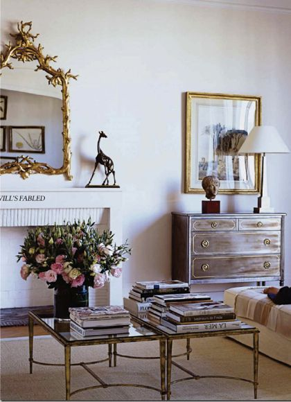 I have been looking for this coffee table in a matte gold colour.  Lee Radziwill's Paris Apartment