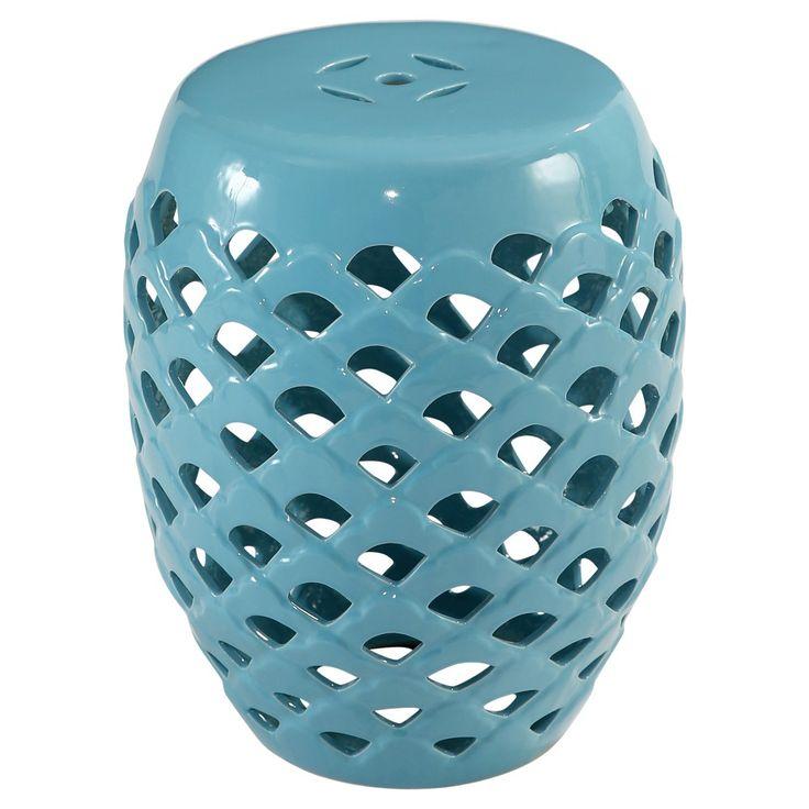 Tara Ceramic Garden Stool - Aqua (Blue) - Abbyson Living