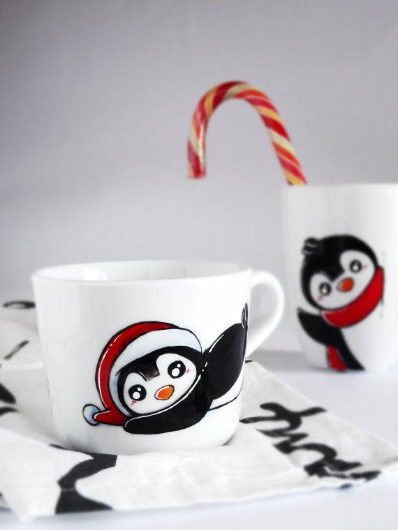 Penguin mug mug with shy penguin message mug by vitaminaeu on Etsy