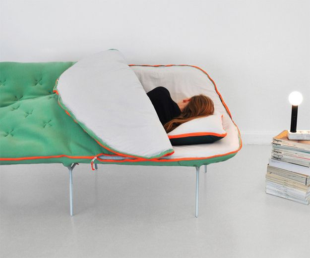All couches should hereafter be nothing but sleeping-bag-sofas. Why don't I own this??