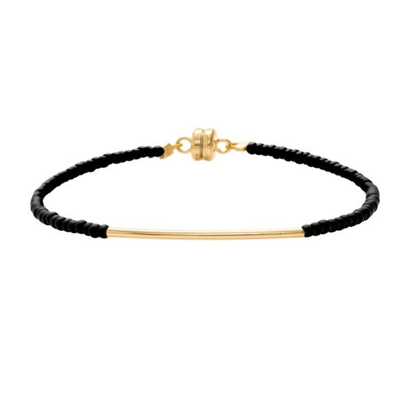 MINNIE GRACE Black beaded friednship bracelet | La Luce