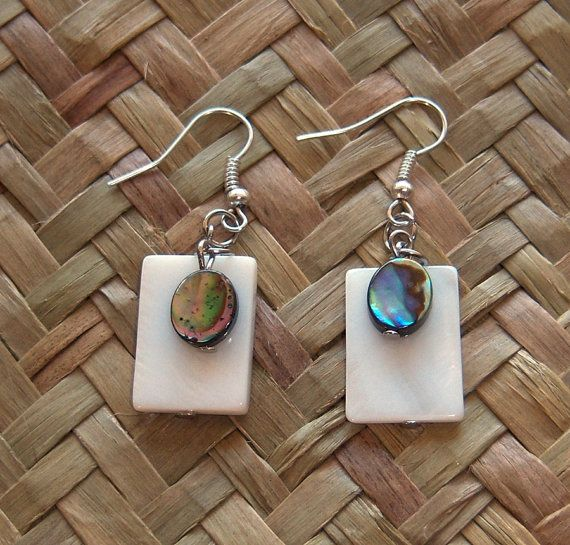 Paua Abalone and MOP Mother of Pearl Earrings by OceanicBeads, $12.36