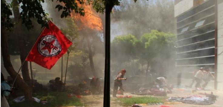 Des images de l'attentat suicide à Suruç, en Turquie, près de la frontière syrienne, le 20 juillet 2015. (DICLE NEWS AGENCY / AFP)