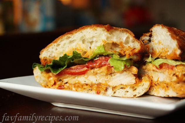 Tomato Pesto & Chicken Cibatta Sandwiches from favfamilyrecipes.com #recipes #chicken #sandwiches