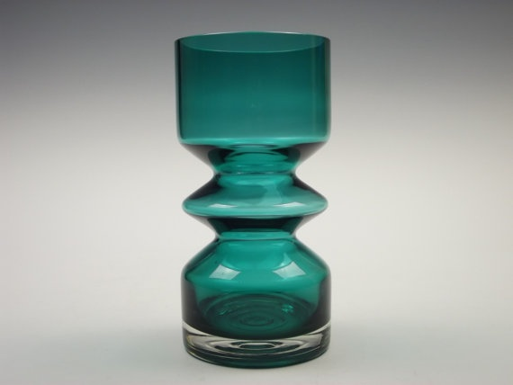 Riihimaki teal green glass vase by Tamara Aladin