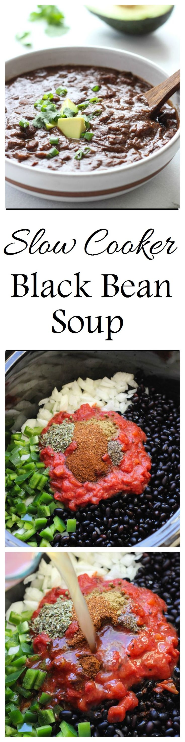 Easy Slow Cooker Black Bean Soup- throw everything in your slow cooker and come home to a warm and healthy meal! (vegan + gluten-free)