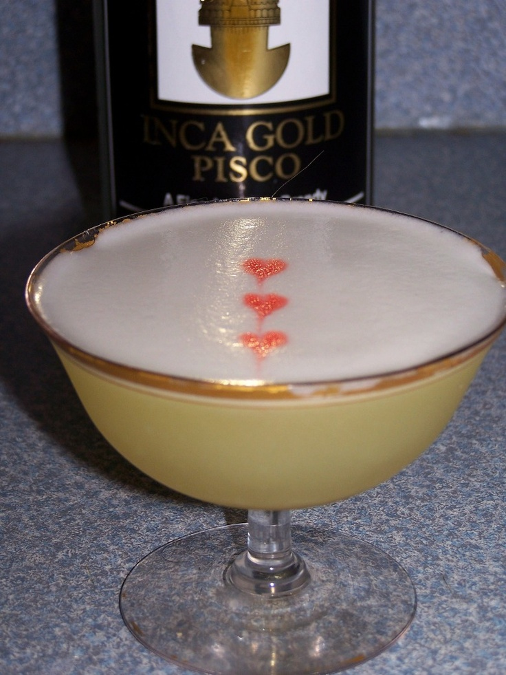pisco sourCocktails Glasses, Chill Cocktails, Pisco Sour, Perfect Puree, Eggs White, Peychaud Bitter, Inca Gold, Double Strain, Cocktails Recipe