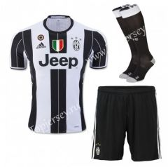 2016/17 Juventus Home White Black Thailand Soccer Uniform With Patches and  Socks
