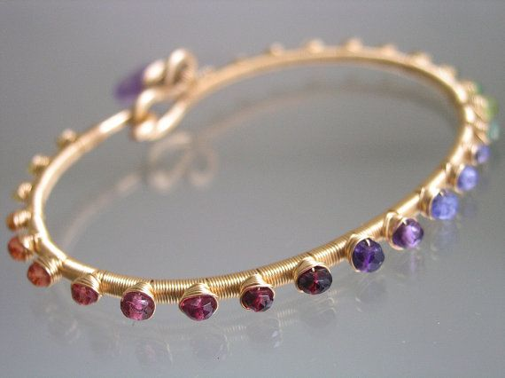 Rainbow Gold Filled Bangle Gemstone Bracelet with tanzanite, amethyst, sapphire, tourmaline, peridot, etc.  by bellajewels  238.00
