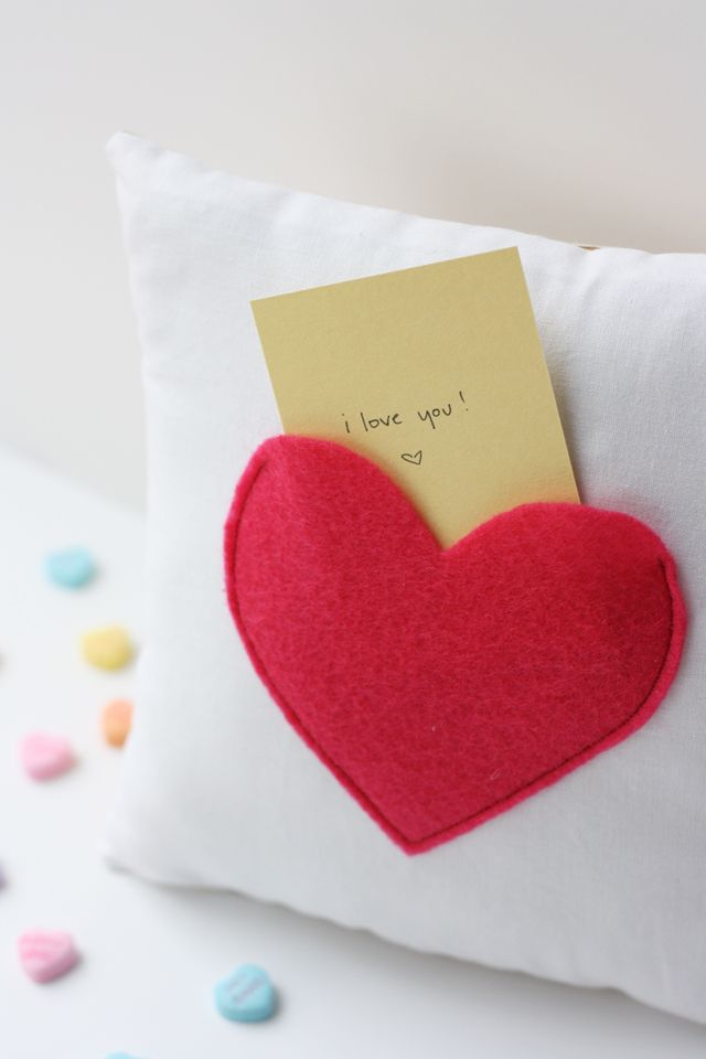 Get creative this Valentine's Day by sending your loved one a heart pocket pillow valentine. Courtesy of See Kate Sew, this tutorial features a heart-shaped felt pocket to hold candy or a little note. Plus, the pillow makes for a sweet memento once the holiday is over. Click in for the complete tutorial.