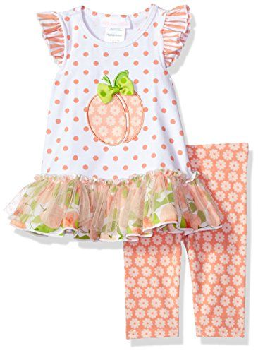 344328fed950c Bonnie Baby Baby Girls Appliqued Dress and Legging Set, P... https:
