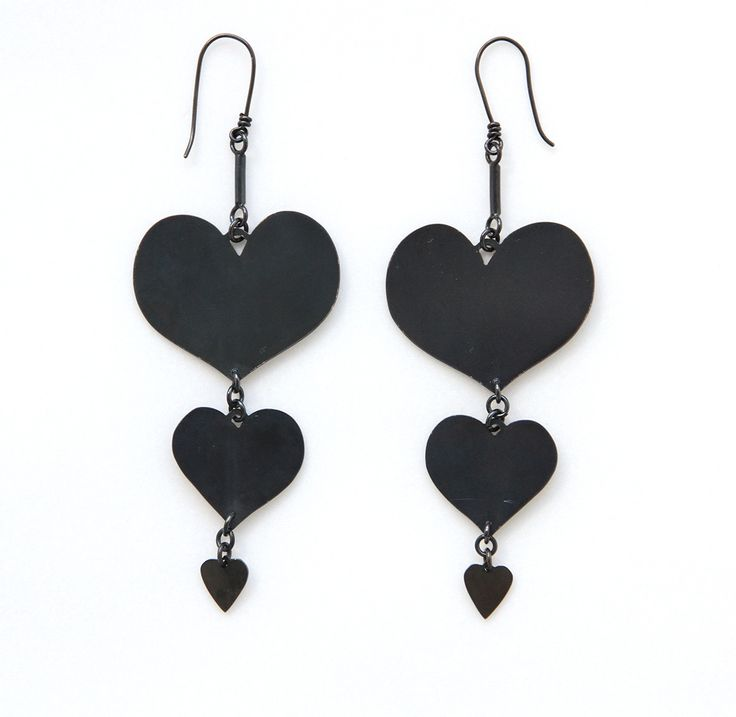 Dicentra Earrings from Botany collection by Sian Evans , black ruthenium plated also in rose, yellow and lemon gold plate #blackheart