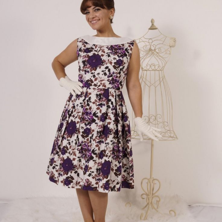 Leanne Purple Print Dress on Velvet Rose's Pin Up Dressing Room - The vintage shop tailored to you #Vintageinspireddress #ChristmasPresent Free Postage within Australia