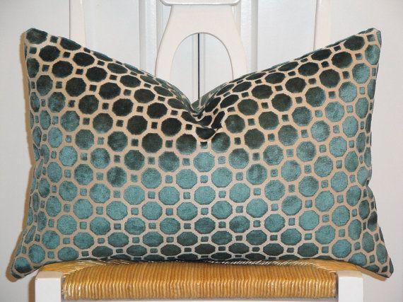 Modern Decorative Lumbar Pillows : Decorative Pillow Cover - 14 x 20 - Accent Pillow - Throw Pillow - Lumbar Pillow - Turquoise ...