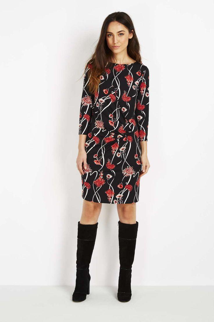 Black Floral Printed Drape Dress