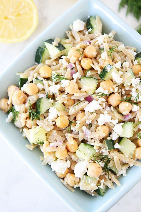 Orzo Salad with Chickpeas, Cucumbers, Lemon, Dill, & Feta Recipe on twopeasandtheirpod.com #salad #vegetarian #summerOlive Oils, Food, Orzo Salad Recipe, Cucumber Salad, Vegetarian Recipe, Healthy Recipe, Feta Recipe, Chickpeas, Orzo