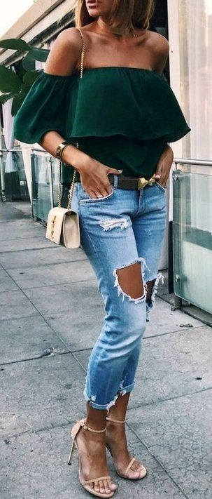 #fall #outfits Beverly HillsBelt By Corius Paris // Handbag By YSL // Heels By Stuart WeitzmanFashion // Destroyed Jeans // Off Shoulder Green Top