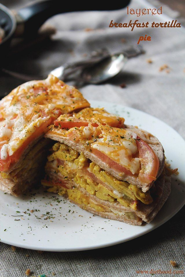 {Mexico} Layered Breakfast Tortilla Pie  @Kat Ellis Petrovska | Diethood