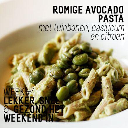 WK4: Romige avocado pasta #avocado #pasta #tuinbonen #basilicum #citroen