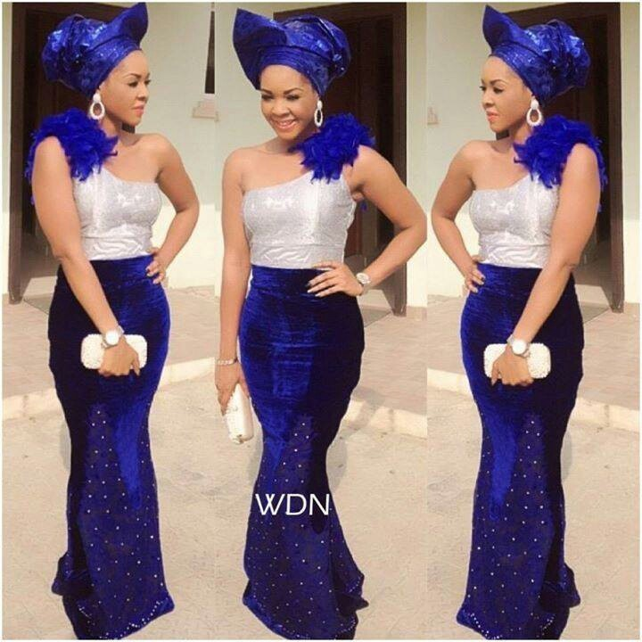 The velvet aso ebi is the latest style traditional for Velvet and lace wedding dresses