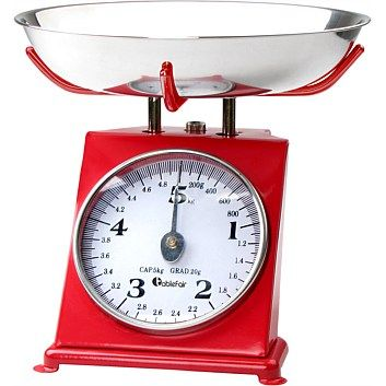 Kitchen Scales - Kitchen Utensils - Briscoes - Tablefair Red Metal 5kg Mechanical Kitchen Scale $15 in 3 colours
