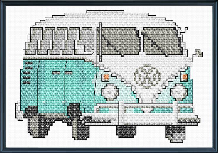 Teal VW Bus Cross Stitch Pattern