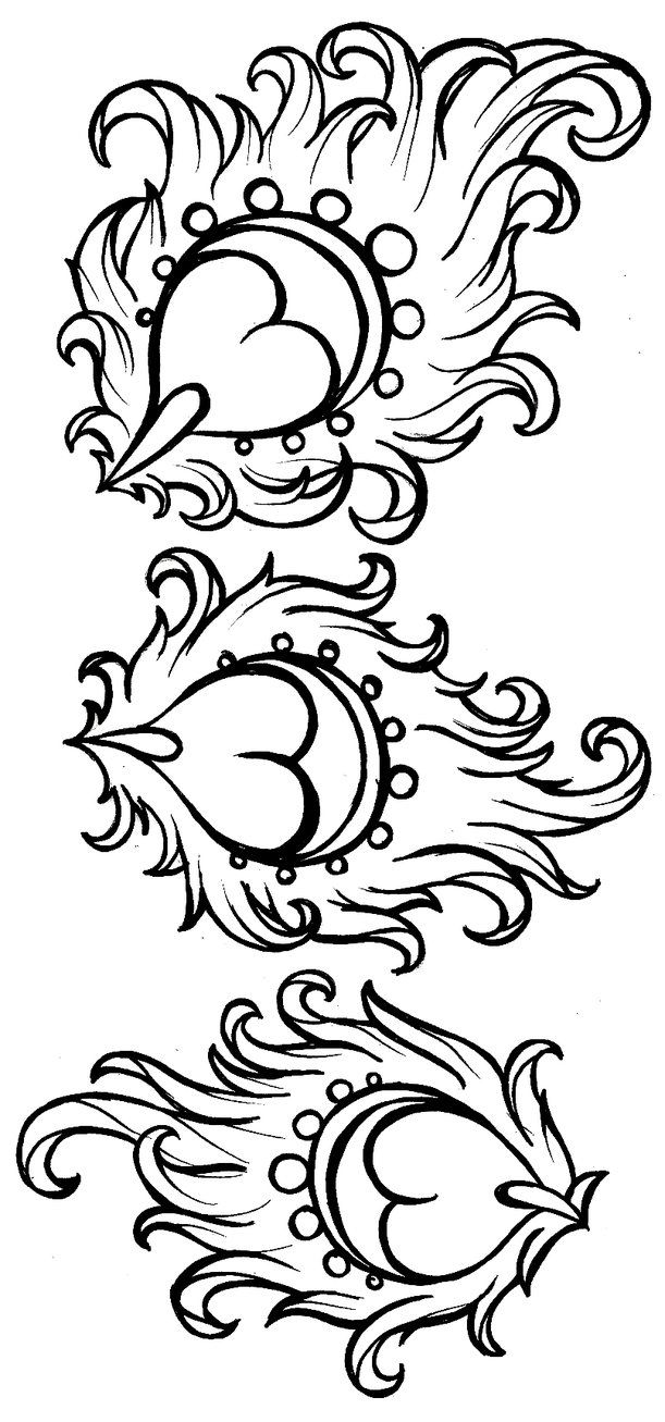 Free coloring pages of peacock feathers coloring everyday printable - Art Nouveau Peacock Feather Tattoo By Metacharis On Deviantart As Flames On A Sacred Heart Tattoo