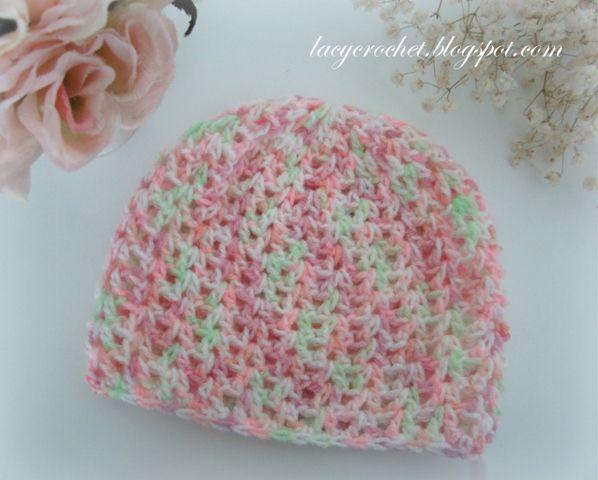 V-Stitch Baby Beanie, Size 3-6 Months ~ free pattern