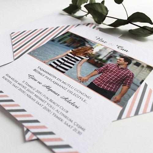 Mutluyuz - Modern Fotoğraflı Düğün Davetiyesi - Tasarım: © Dört Köşe Davetiye