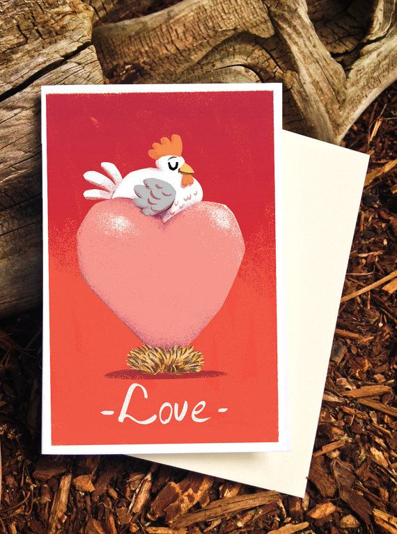 Chicken Love Card - I love you card by Pickle Punch