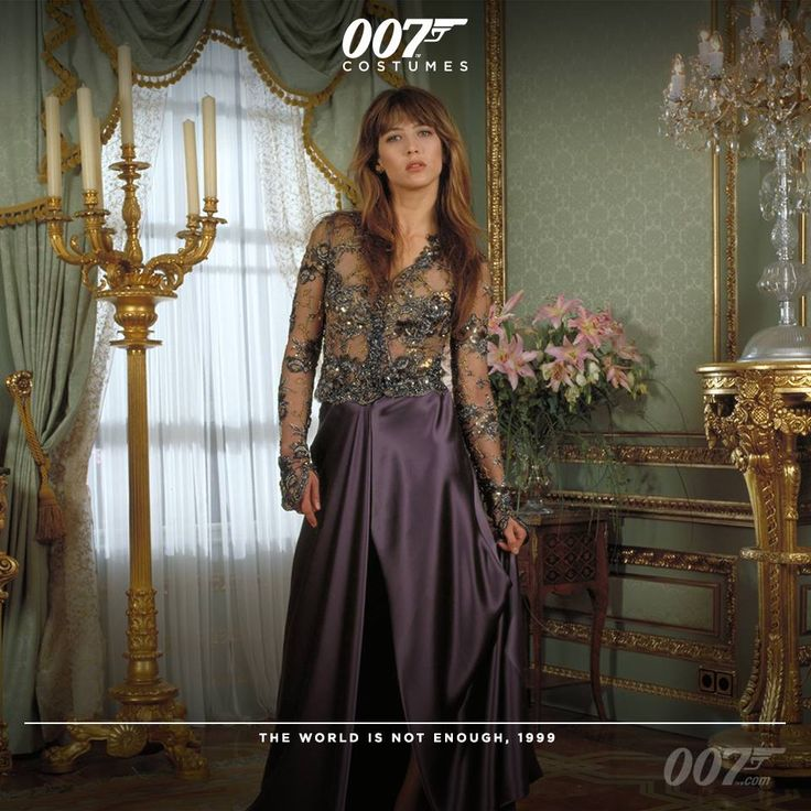 For Sophie Marceau's (Elektra King) outfit in THE WORLD IS NOT ENOUGH Costume Designer Lindy Hemming used a beaded fabric by Ungaro for the see-through bodice and a Versace fabric to make the lilac wrap around silk skirt.