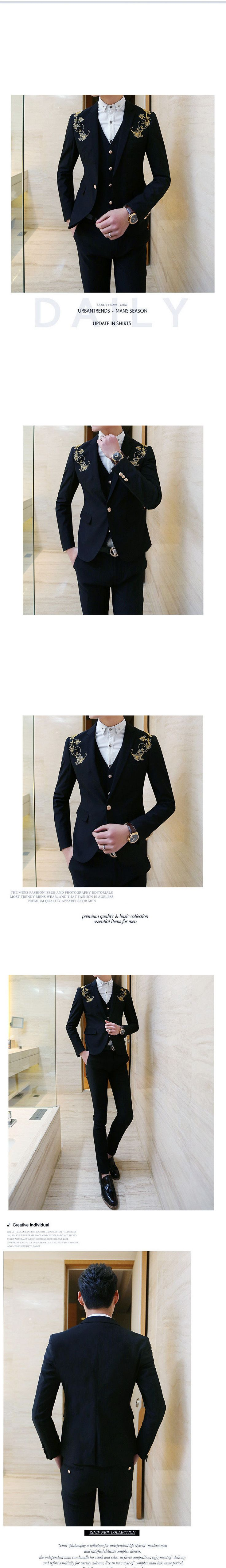Set: Embroidered Blazer + Vest + Dress Pants