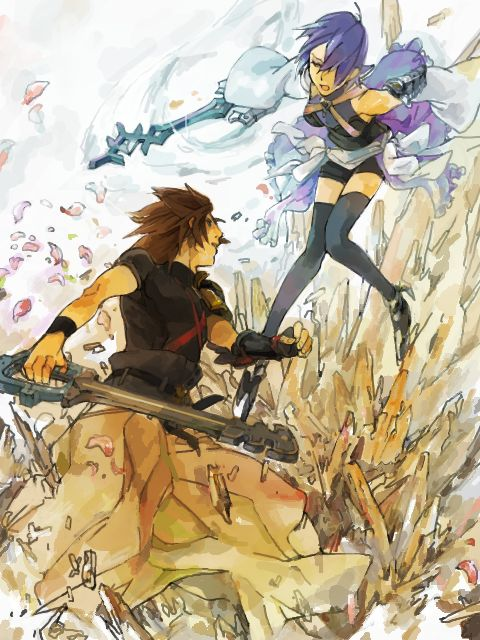 """Kingdom Hearts: Birth By Sleep:-""""A Duel among friends in order to receive The Mark of Mastery"""". Aqua vs Terra"""