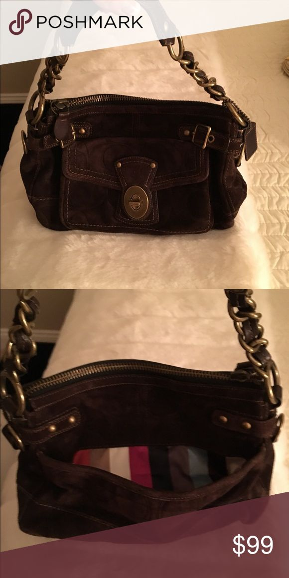 Coach brown suede bag worn twice Coach brown suede bag worn twice Coach Bags Shoulder Bags