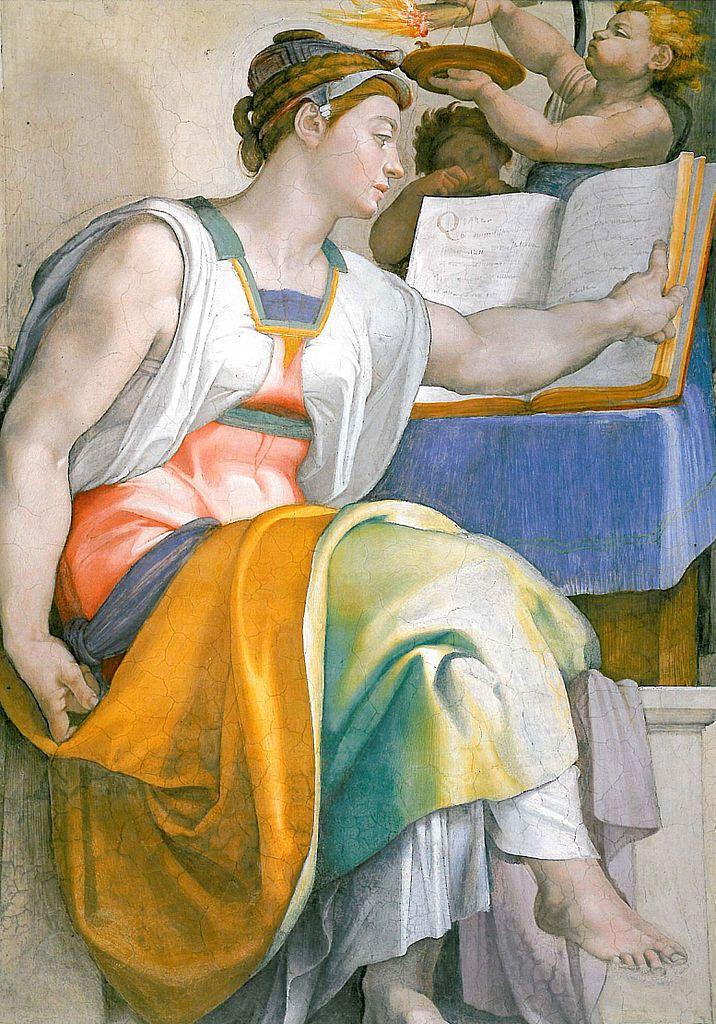"""La Sibila Eritrea Se dice que fue la hija de un pastor y una ninfa. Vivió en Eritrea, Jonia (Asia Menor), en el Mar Egeo. Lo que hace esta mujer importante para los cristianos es su predicción de Cristo, dada en forma de un poema acróstico que formaba las palabras: 'Iesus Christos Theou Yios Soter', que significa, """"Jesucristo es el Hijo de Dios, el Salvador."""" a ella se refiere el famoso Cant de la Sibil·la de Mallorca"""