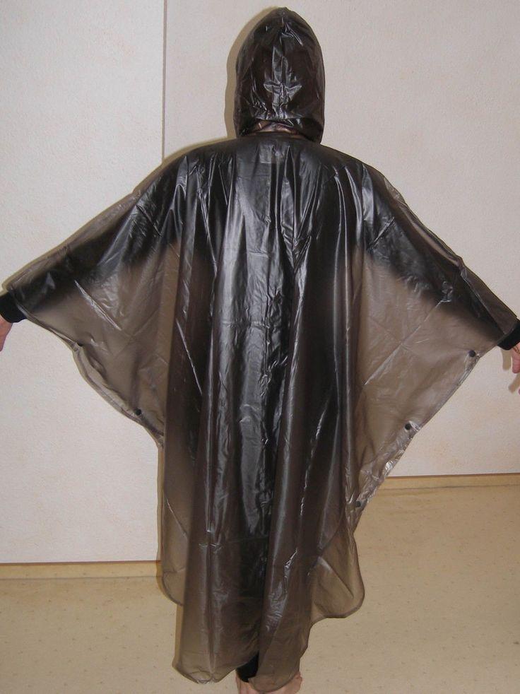Damen Regencape Regenmantel PVC rauchgrau transparent XL plastic raincoat   eBay