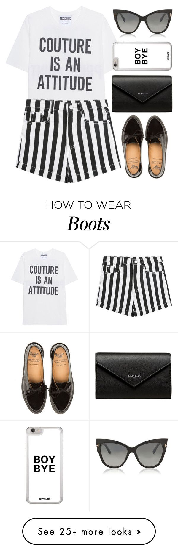 """Slogan tee"" by apoorvakingar on Polyvore featuring Moschino, Balenciaga and Tom Ford"