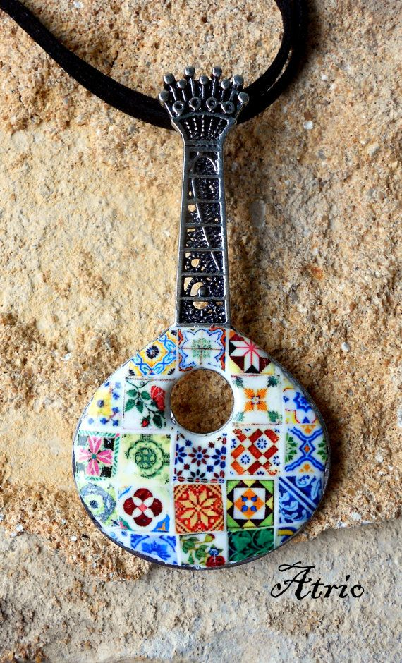 Portugal HUGE Filigree FADO GUITaR Guitarra Necklace with by Atrio