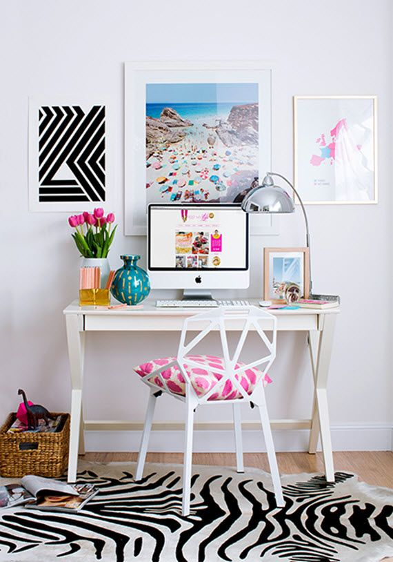 Delightful Home Office Inspiration, We Love The Graphic Additions To This Work Space.  A Bold Rug Helps Elevate The Simple Desk And Chair, Whilst Personal Touches  Have ... Great Ideas