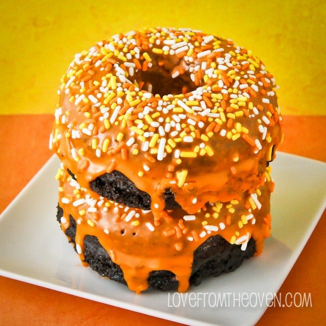 Halloween Chocolate Sour Cream Donuts using @McCormick Spice.