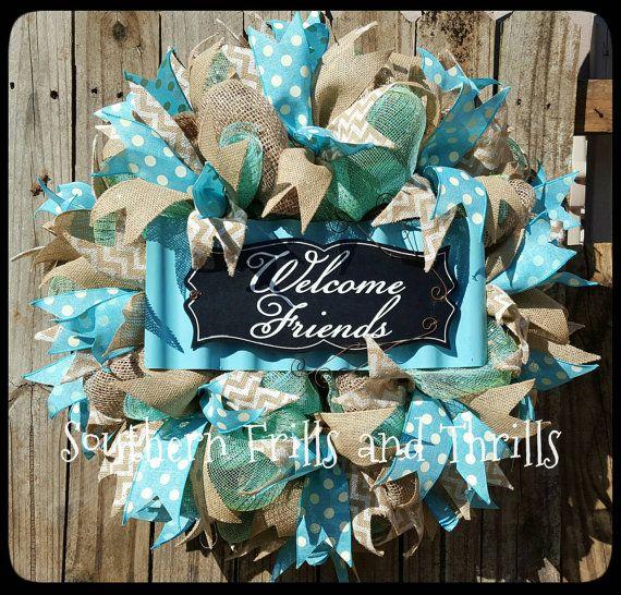 Front Door Wreath-Mesh Wreath-Burlap Wreath-Deco Mesh Welcome Wreath-Summer Wreath-Outdoor Wreath-Spring Wreath-Door Wreath-Housewarming