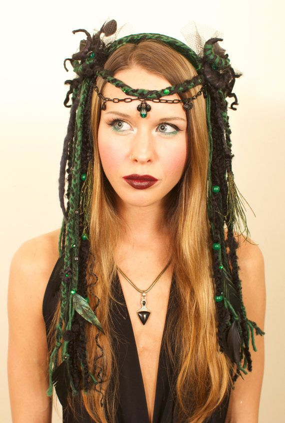 Schwarz und grün Wicked Kopfschmuck von lotuscircle auf Etsy