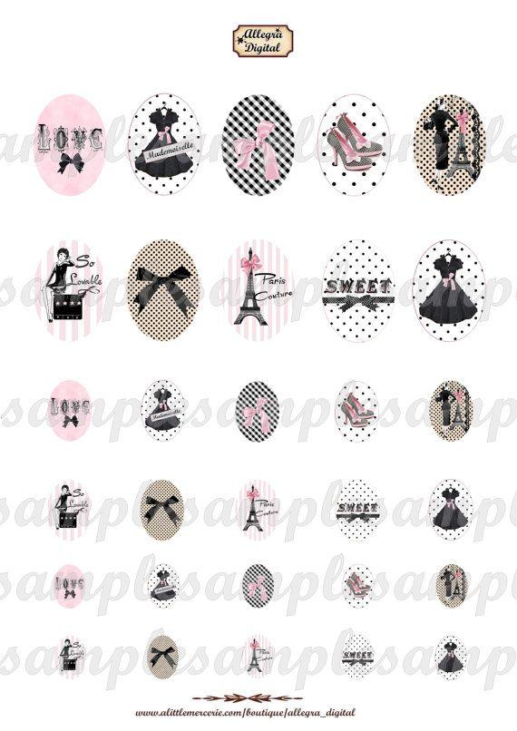 Imágenes digital retro vintage alta costura forma ovalada (, negro vestido, París, arveja rosa, de nodo, Torre Eiffel, rosa,) para la creación de joyas con cristal de cabujón, scrapbooking creativo u otras aficiones.  30 medallones ovales de diferentes tamaños: 40 x 30 mm, 25 x 18 mm, 18 x 13 mm (Vestido de modo, negro, París, nodo rosa, Torre Eiffel)  -Alta resolución: 300 dpi (JPEG)  -Tamaño de la hoja: 21 x 29.70 cm (tamaño A4)  -Envío a su correo electrónico el mismo día.  -A imprimir…