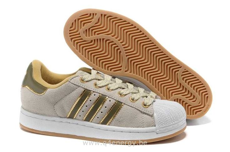 Femmes Adidas Superstar II CrèMe Blanche Verte D'or