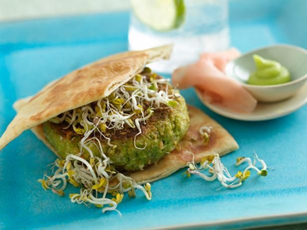 Veggie Burger Recipes - These veggie burgers pack a flavorful punch, so you won't miss the meat.Food Network, Edamame Veggies, Foodnetwork Uk, Burgers Recipe, Veggies Burgers, Network Kitchens, Kitchens Carrots, Beans Sprouts, Veggie Burgers