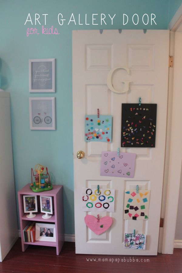 {this post contains affiliate links} As a mama, I'm always looking for unique ways to showcase Gracen's artwork without our little house looking like a cluttered mess.  One of the places we love to hang multiple pieces is on her bedroom door.  So much so, that over time, it's become her little art gallery of…