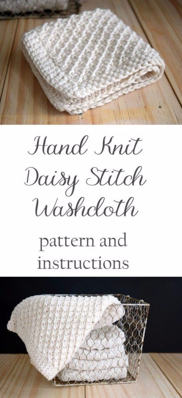 38 Easy Knitting Ideas -Hand Knit Daisy Stitch Washcloth-  DIY Knitting Ideas For Beginners, Cute Knit Projects, Knitting Ideas And Patterns, Easy Knitting Crafts, Gifts You Can Knit, Knitted Decors http://diyjoy.com/easy-knitting-ideas