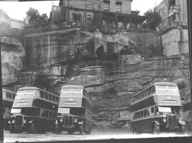 Sydney Doube Decker buses waiting at Cowper Wharf Road, Woolloomoloo, Sydney Australia : photo taken 8 July 1938 v@e